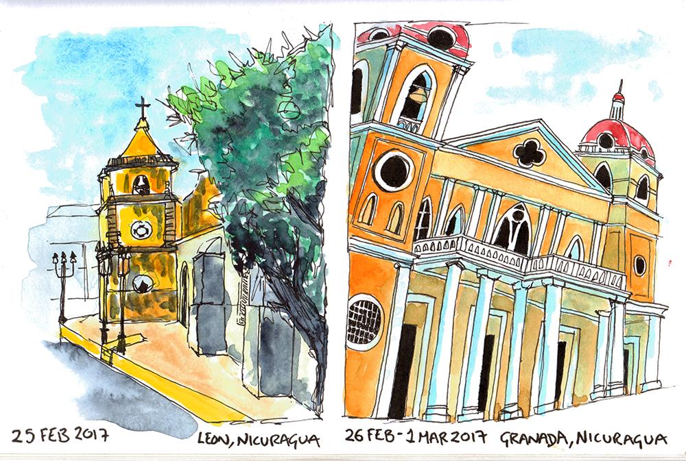 Buildings in Leon and Granada, Nicuragua