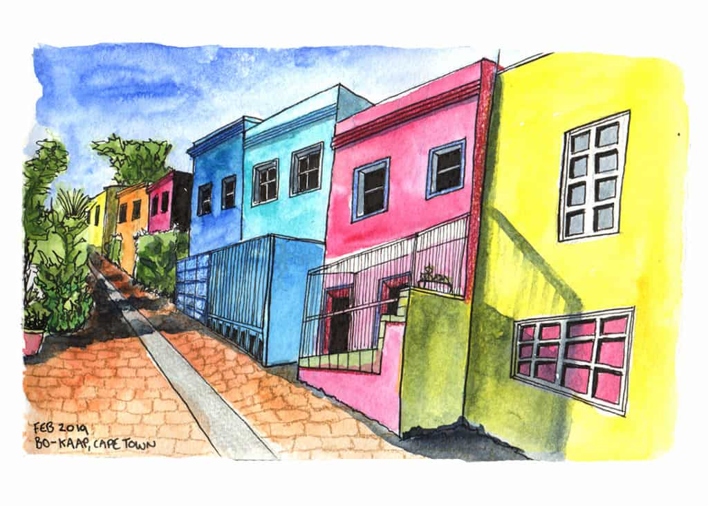 Bokaap houses Cape Town travel sketch