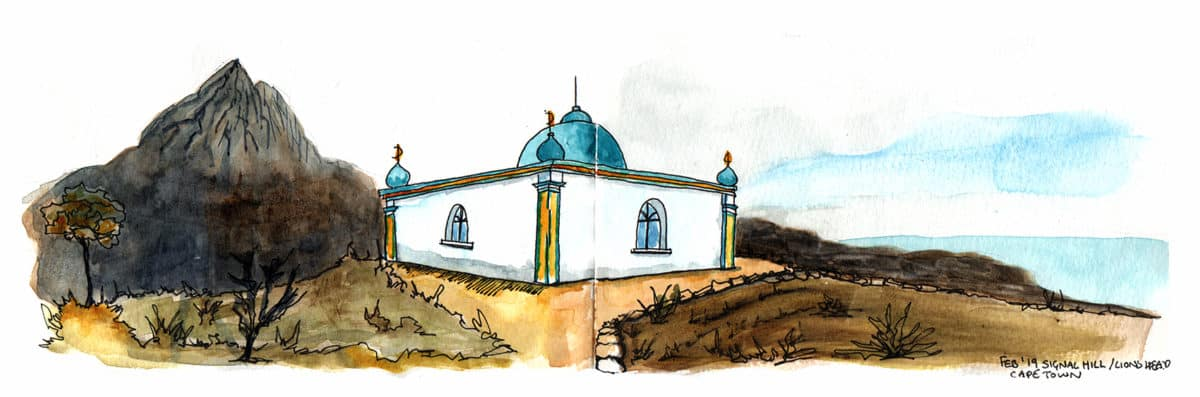 Lions Head Cape Town Mosque travel sketch