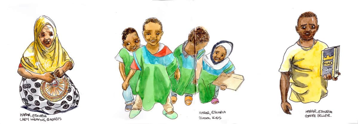 Travel sketch kids in Harar Ethiopia