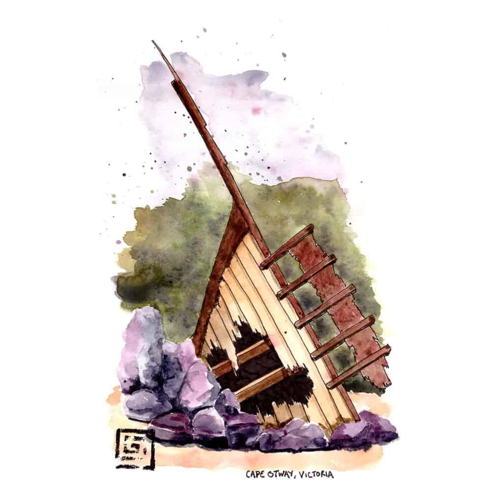 Cape Otway National Park Shipwreck monument travel illustration