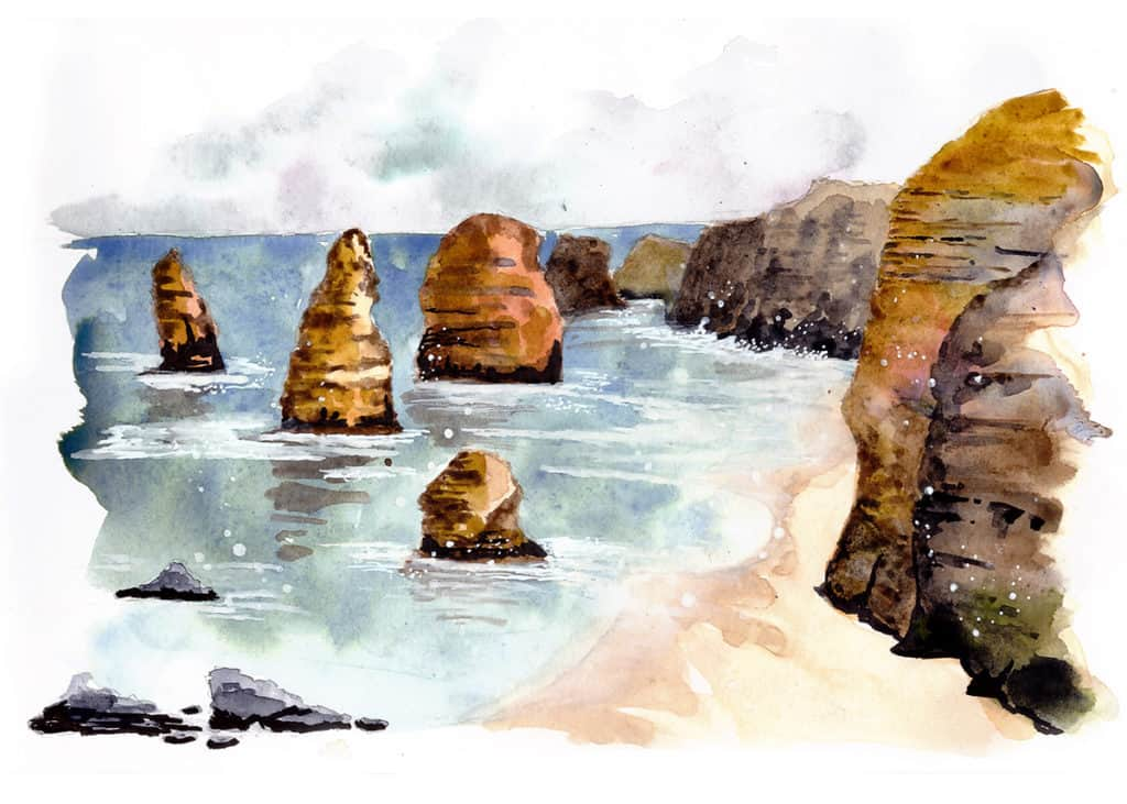 Twelve Apostles Travel Sketch