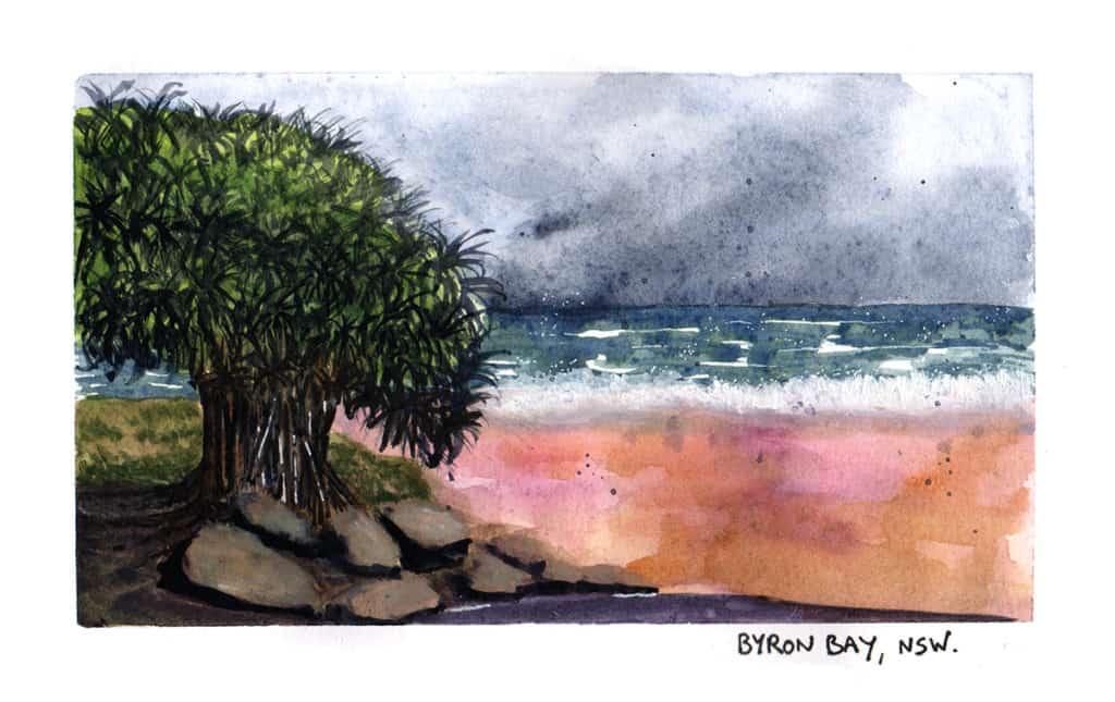 Byron Bay travel illustration