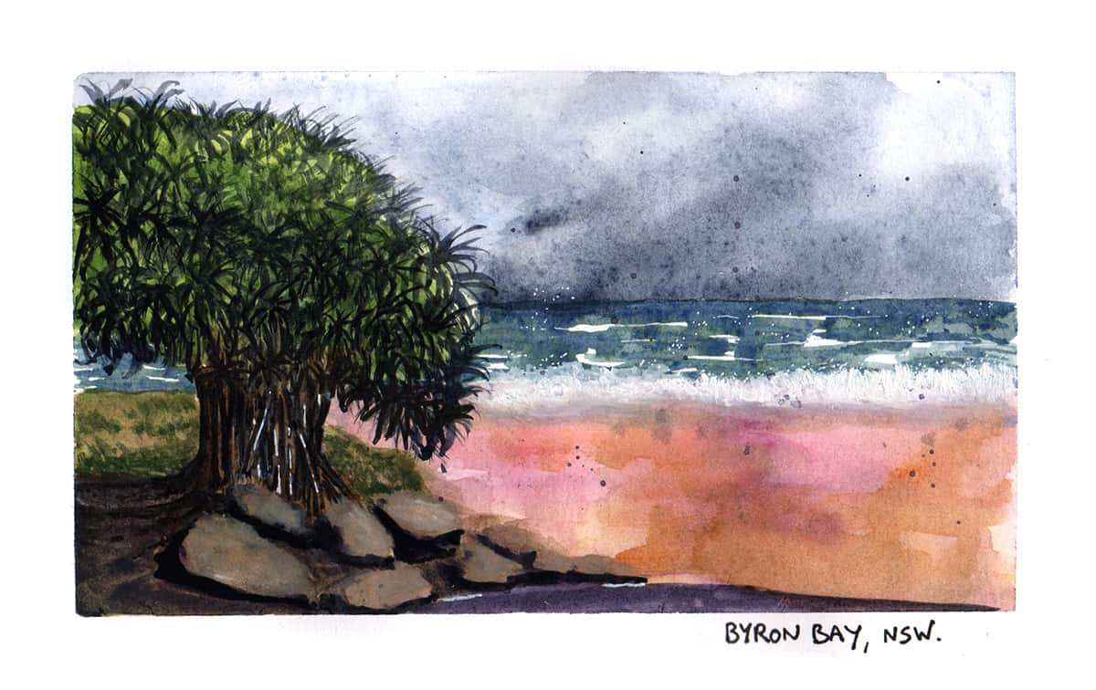 Byron Bay travel illustration