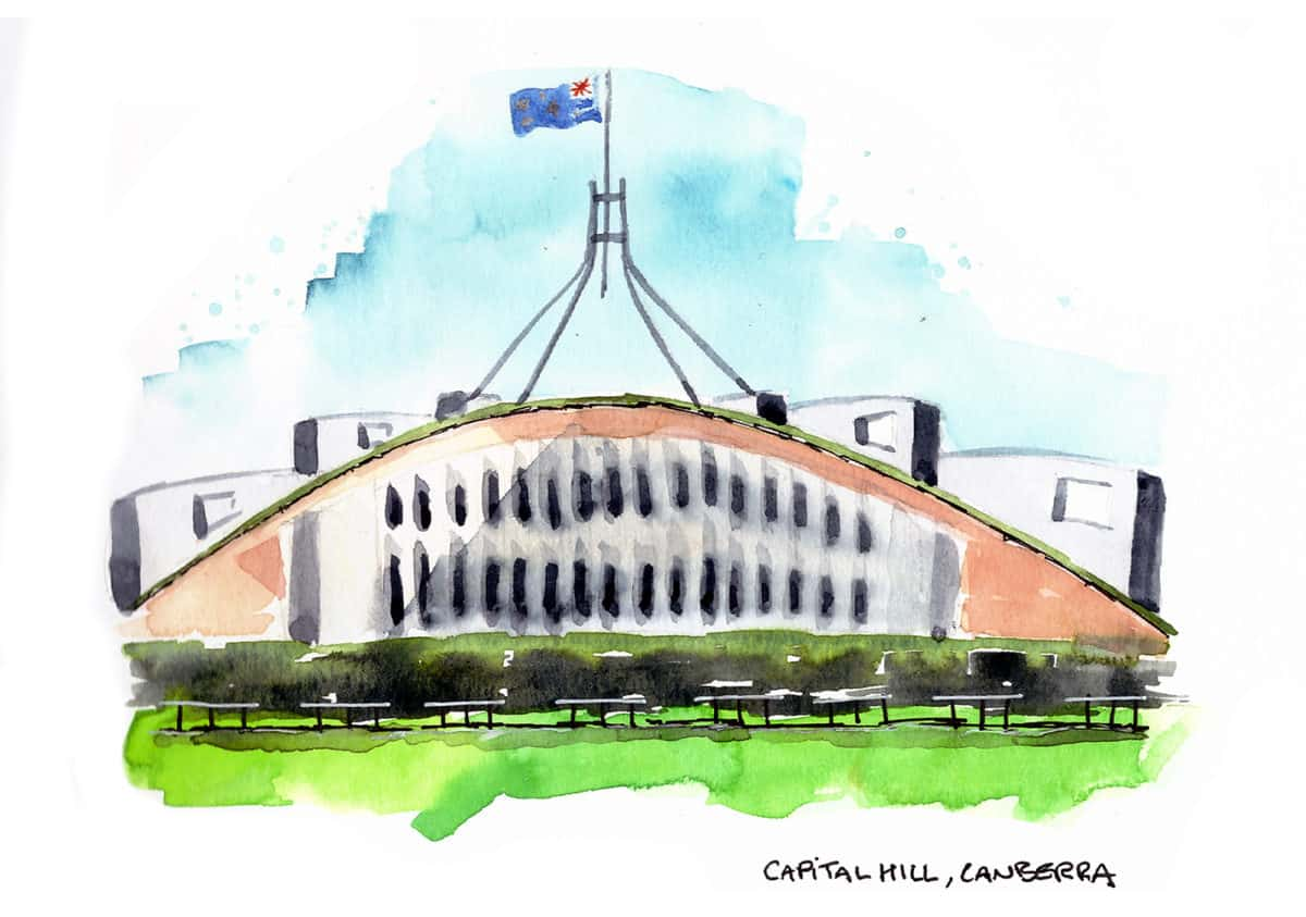 Parliament House Canberra travel sketch