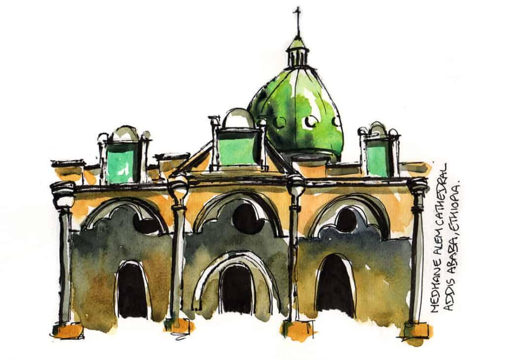 Medhane Alem Cathedral Addis Ababa travel sketch