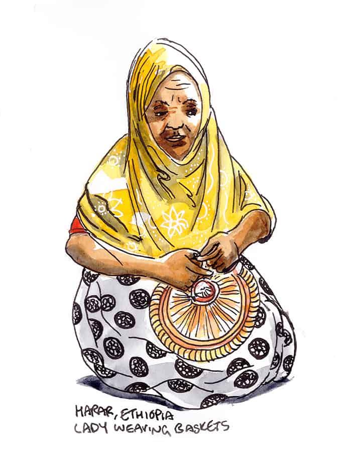 Harar Museum, lady weaving, travel sketch