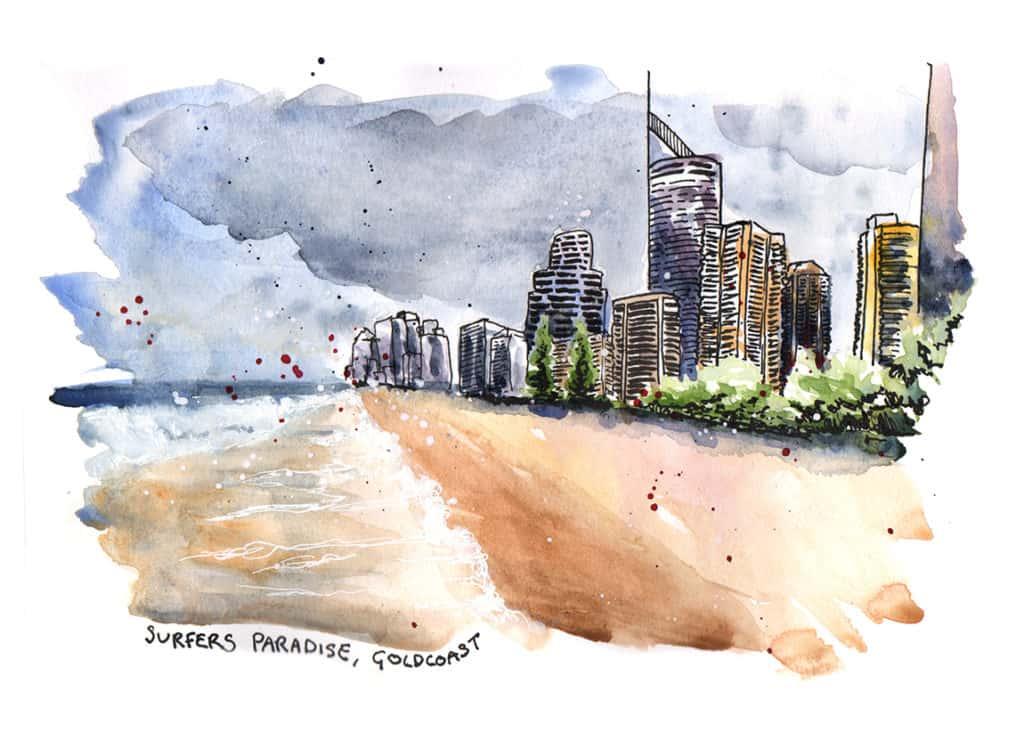 Surfers Paradise Travel Sketch