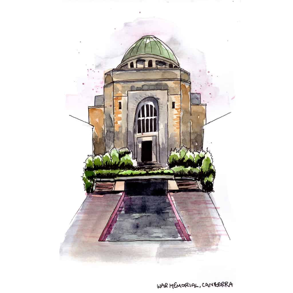 Australian War Memorial Canberra travel sketch