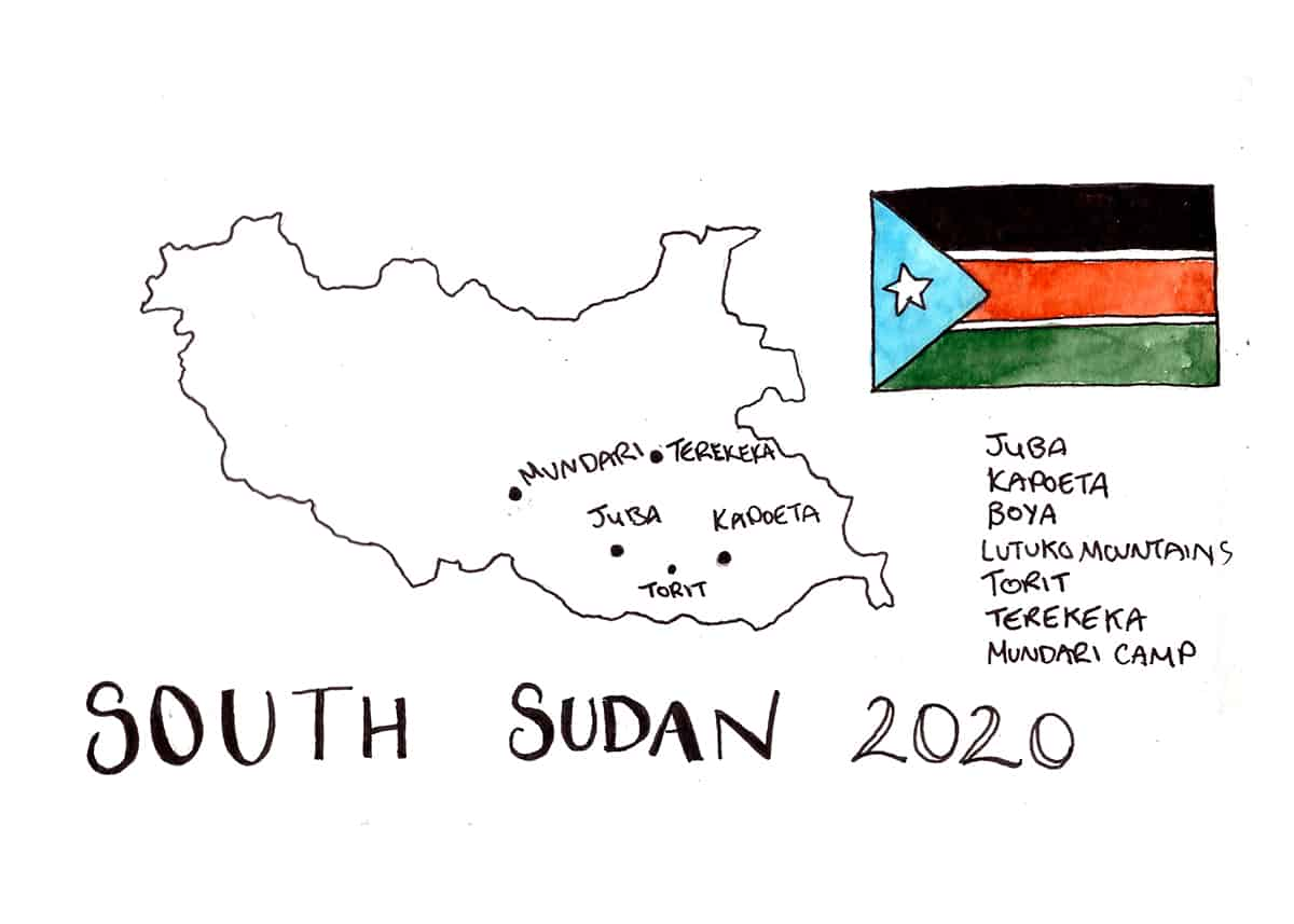 South Sudan Travel Illustration