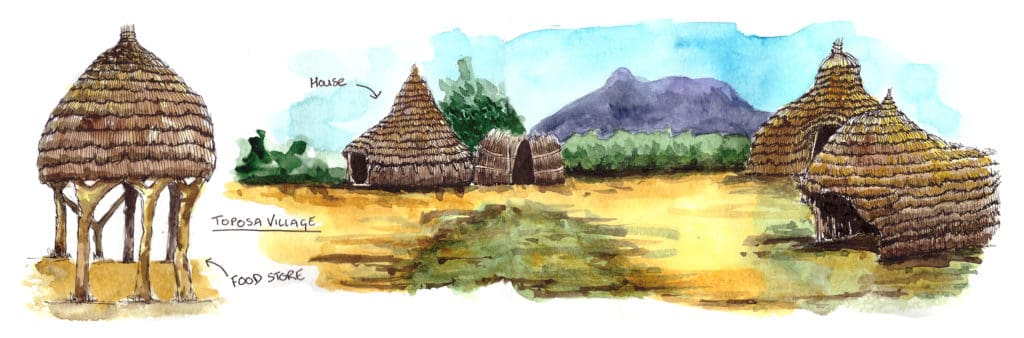 South Sudan Toposa Village Illustration